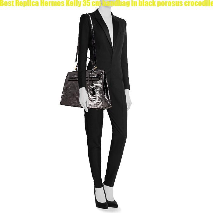 701f1626eba5 Best Replica Hermes Kelly 35 cm handbag in black porosus crocodile ...