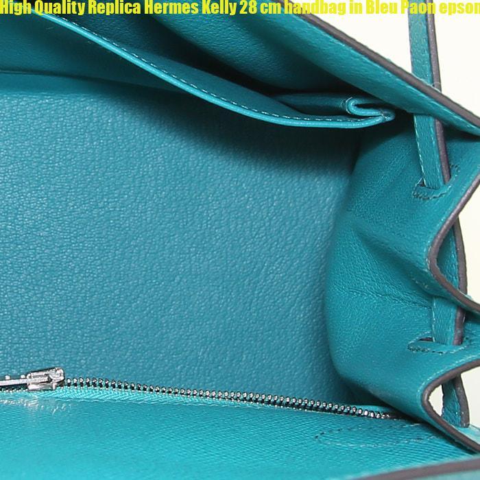 79cbd3dd35fa High Quality Replica Hermes Kelly 28 cm handbag in Bleu Paon epsom leather