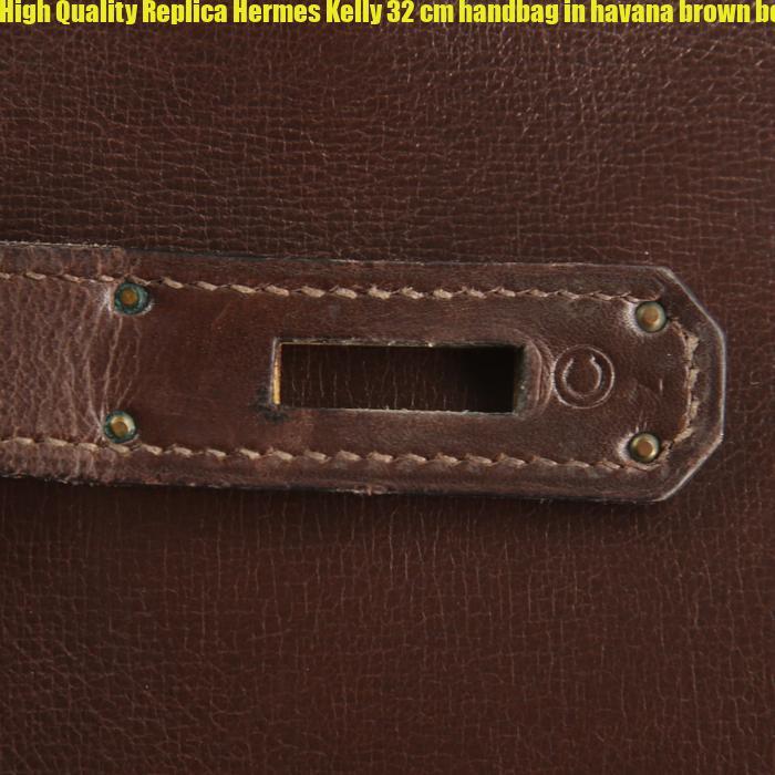 aeda279b90ca High Quality Replica Hermes Kelly 32 cm handbag in havana brown box leather