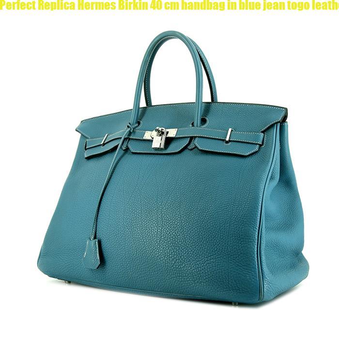 c52e2ad9291f Perfect Replica Hermes Birkin 40 cm handbag in blue jean togo leather