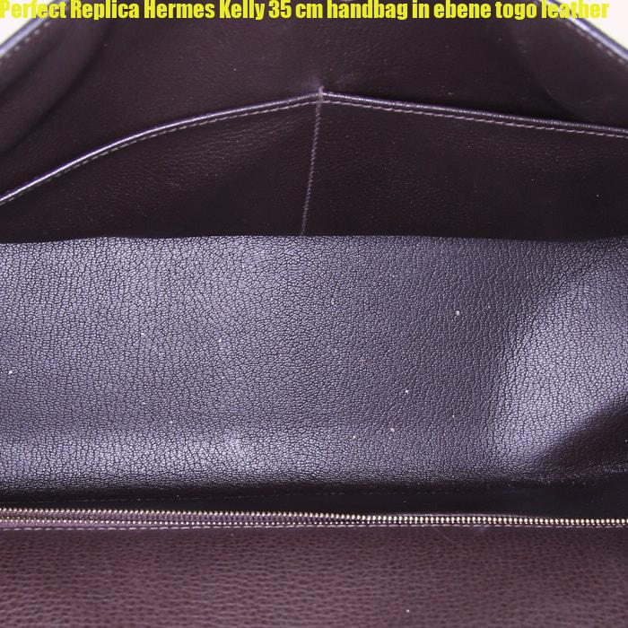 49273558f2 Perfect Replica Hermes Kelly 35 cm handbag in ebene togo leather ...