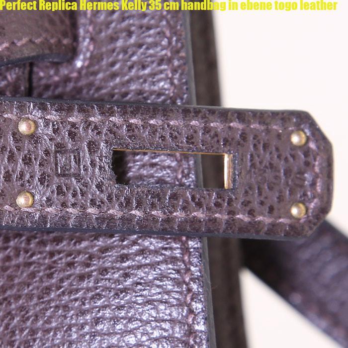 50bb2200cb83 Perfect Replica Hermes Kelly 35 cm handbag in ebene togo leather ...