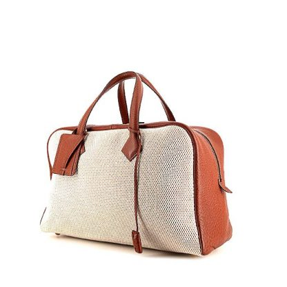 UK Replica Hermes Victoria travel bag in brown togo leather and beige canvas e7d567bdf3d35
