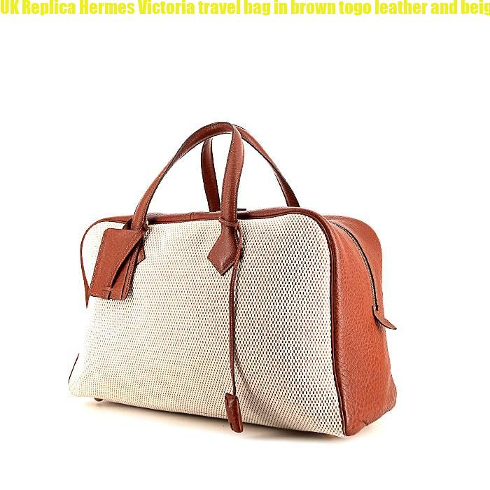 UK Replica Hermes Victoria travel bag in brown togo leather and beige canvas 1b97e963eb599